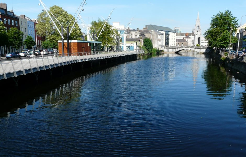 view of River Lee flowing through Cork city centre