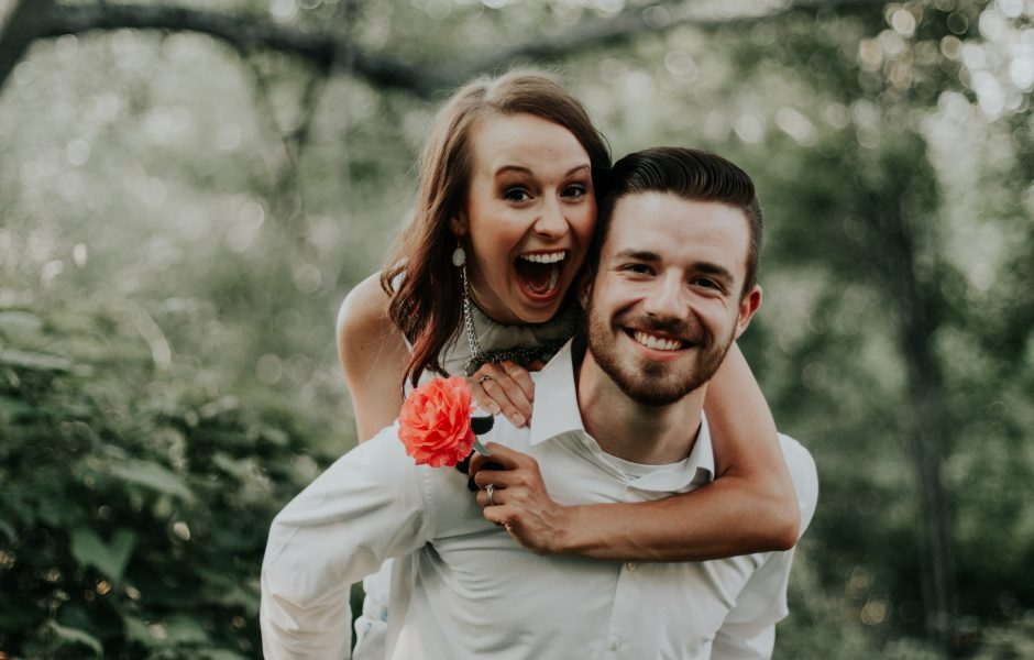 excited couple that just got engaged